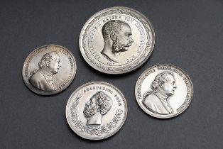 4 Diverse versilberte Medaillen Österreich K.u.K.: 2x | 4 Various silver medals Austria K.u.K.
