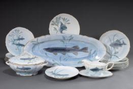 15 Teile Jugendstil Fischservice für 12 Personen | 15 pieces Art Nouveau fish service for 12 person