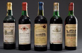 5 Diverse Flaschen Rotwein, Bordeaux, 1966 Chate | 5 Various bottles of red wine, Bordeaux, 1966 Ch