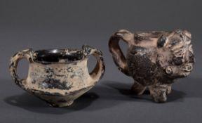 2 Diverse Ausgrabungen: schwarzes präkolumbianis | 2 Various excavations: black pre-Columbian clay