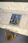 Illuminierte Urkunde zur Ernennung in den Ritter | Illuminated document for the appointment to knig