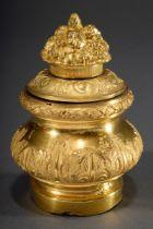 Feuervergoldetes Bronze Tintenfass mit plastisch | Fire-gilt bronze inkstand with plastic fruit bas