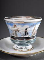 Spätbiedermeier Kapitänstasse mit gemaltem Schif | Late Biedermeier captain's cup with painted ship