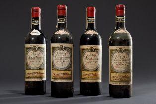 "4 Flaschen Rotwein: 1955 ""Chateau Rauzan Gassies | 4 bottles of red wine: 1955 ""Chateau Rauzan Gass"