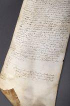 Gerolltes Pergament mit vermutlich altenglischer | Rolled parchment with probably Old English handw