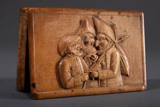 Wurzelholz Schnupftabakdose mit geschnitztem Rel | Burl wood snuff box with carved relief in the li