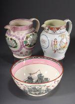3 Diverse englische Weichporzellan Krüge und Sch | 3 Various English soft porcelain jugs and bowls