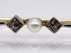 Stabnadel mit Orientperle und kleinen Altschliff-Diamanten, zus. 0,02 ct, Juweliersarbeit, Art Deco