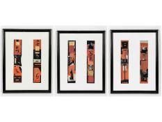 Künstler/Graphiker des 20./21. Jh. Mischtechnik auf Papier, teils mit Goldhöhung; 6 abstrakte