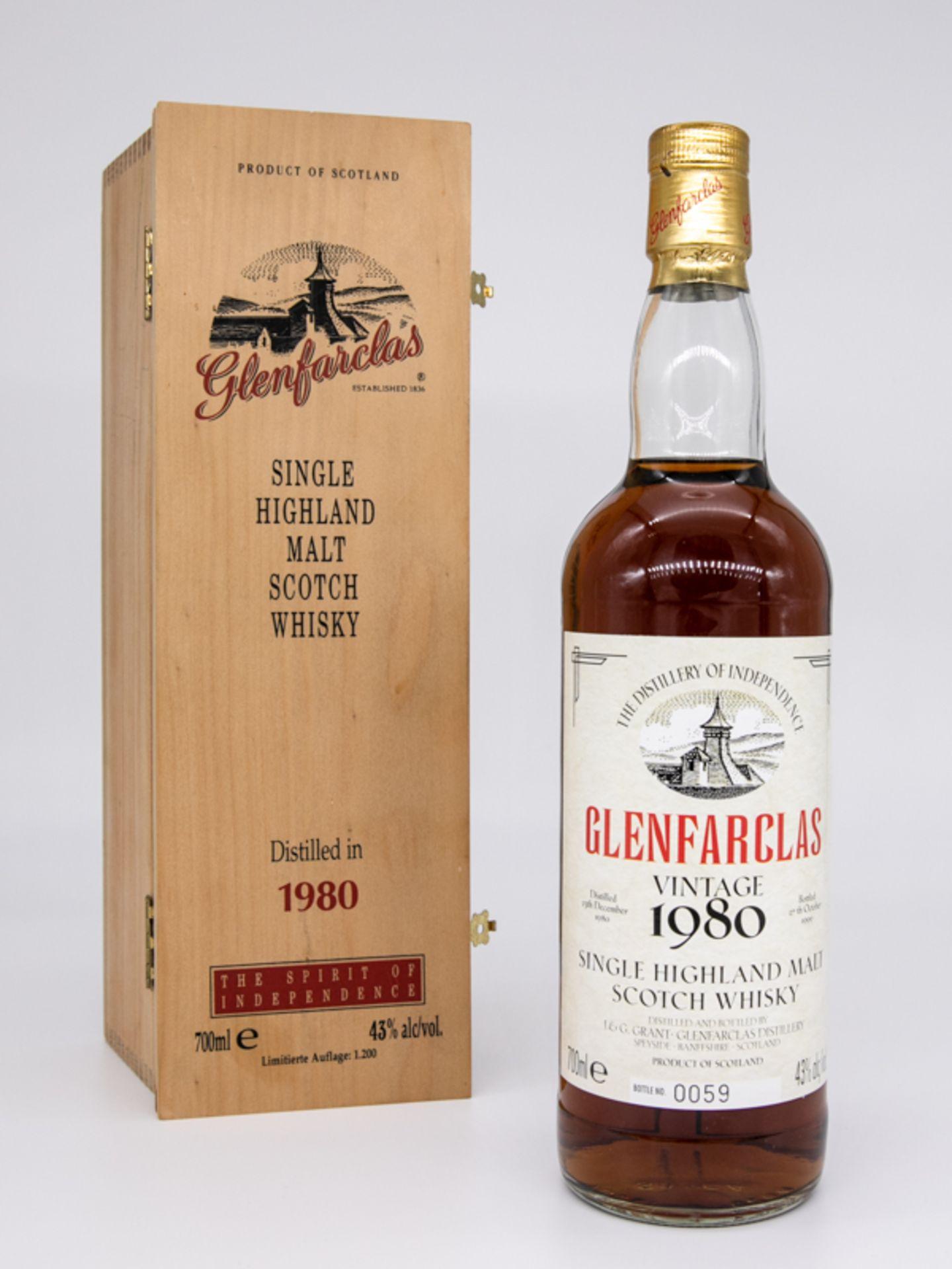 "Single Malt Whisky,""Glenfarclas"" Vintage 1980, Limitierte Auflage 59/1200. Destilliert 23. Deze"