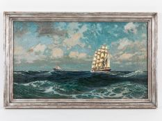 Marinemaler, 1. Hälfte 20. Jh. Öl auf Leinwand; Großsegler auf hoher See, begleitet im Hinte