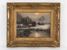 """Rasenberger, Alfred (1885 - 1949). Öl auf Leinwand; """"Winterliche Flußauen-Landschaft"""" (vermut"""
