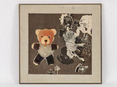 """Lifshitz, Uri (1936 - 2011). Serigraphie, """"Ohne Titel"""" (Teddy), unten in der Mitte in Bleistift"""