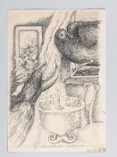"""Fröhlich, Gerti (* 1930). Federzeichnung auf Papier; """"Der ungebetene Gast"""", 1974; Interieur mi"""