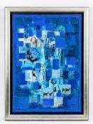 """Bednorz, Peter (* 1960). Collage auf Leinwand, """"Die Frau im Sternzeichen Blau"""", 1999; in variie"""