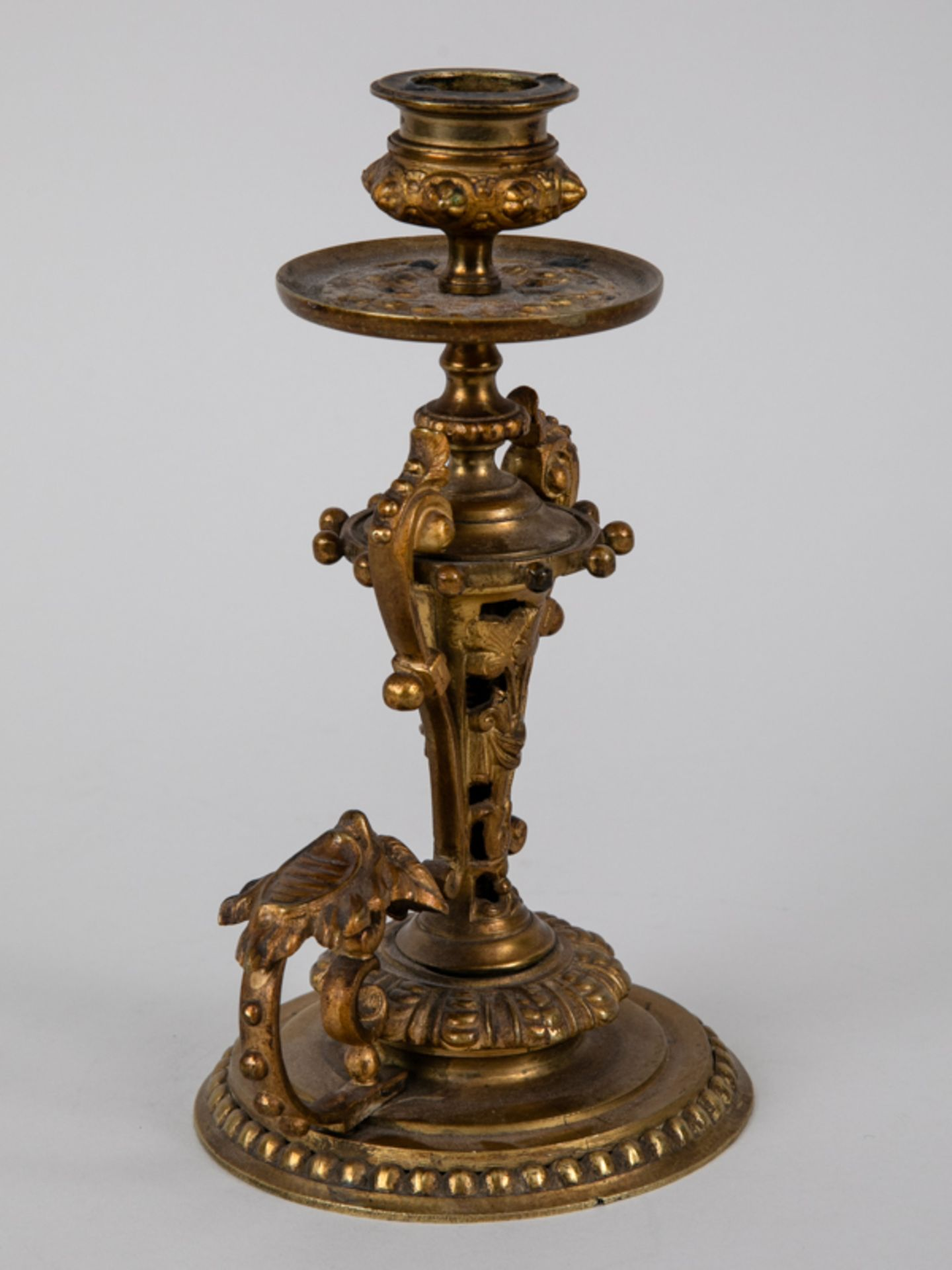 Neo-Renaissance-Einzelleuchter mit Griff, Ende 19. Jh. Zinkguss, vergoldet; mehrgliedrig versch - Bild 7 aus 7