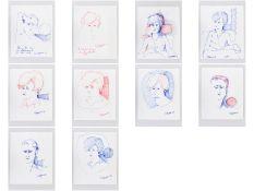 """Podenzana, Geraldo (1940 - 2010). 10 Farb-Filzstiftzeichnungen auf Papier; """"Unterschiedliche Po"""