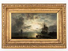 """Xylander, Wilhelm Ferdinand (1840 - 1913). Öl auf Holz; """"Nächtliches Hafenpanorama mit Großs"""
