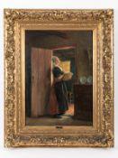 """Haver, Carl (1859 - 1920/ bzw. 1924). Öl auf Leinwand, doubliert auf Holz; """"Holländisches Mädchen"""""""
