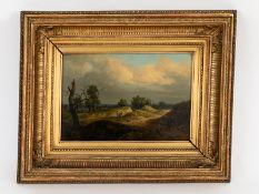 "Morgenstern, Carl (1811 - 1893). Öl auf Holz; ""Parthie am Rödelheimer Sandweg"" (Landschaft mi"