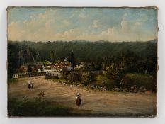 Spätbiedermeier-Maler (19. Jh.). Öl auf Leinwand, Dorfansicht mit Obeliskdenkmal und kleintei