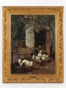 """Koester, Alexander (1864 - 1932). Öl auf Leinwand; """"Entenfütterung im Hof""""; lebensnah geschil"""