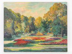 """Stellling, Rudolf (1907 - 1989). Öl auf Leinwand, """"Rencks Park in Neumünster (Holstein)"""", 196"""