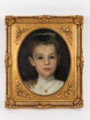 """Battenberg, Mathilde (1878 - 1936). Öl auf Leinwand; """"Portrait eines Mädchens mit goldenem He"""