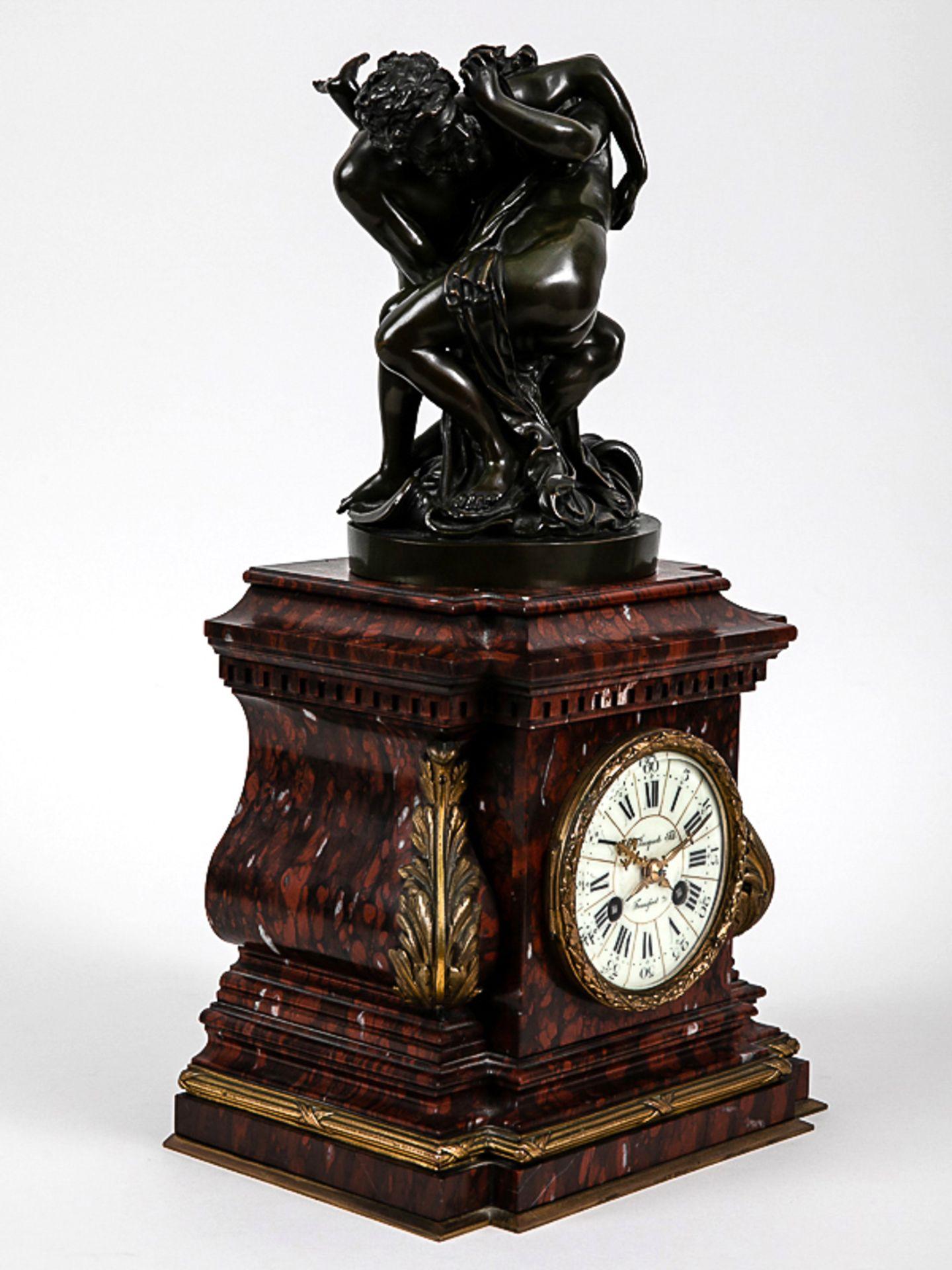 Kaminuhr mit Bronzegruppe, H. Jacquet & Fils/ Roblin, Paris, 2. Hälfte 19. Jh. Bronzeplastik i - Bild 10 aus 10
