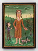 """Masluszcak, Franciszek (* 1948). Öl auf Leinwand (doubliert auf Holz), """"Plappermeister"""", 1978;"""