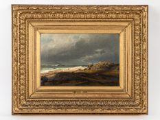 """Gude, Hans Fredrik (1825 - 1903). Öl auf Leinwand; """"Nordische Meeresküste mit Personen- u. Ti"""