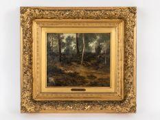 """Burnitz, Carl Peter (1824 - 1886). Öl auf Malkarton; """"Waldpartie""""; studienartiges Landschaftsm"""