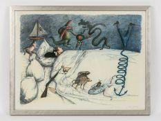 """Topor, Roland (1938 - 1997). Farblithographie, """"Albtraum""""; kleinteilig surrealistische Komposit"""