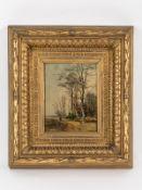 """Fink, August (1846 - 1916). Zugeschrieben. Öl auf Holz; """"Herbstliche Landschaft mit Bäumen am"""