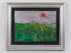 """Podenzana, Geraldo (1940 - 2010). Öl auf Leinwand; """"Italienische Landschaft mit roter Sonne"""","""