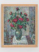 """Blumen-/Stillebenmaler, 20. Jh. Öl auf Malkarton; """"Vasenstilleben mit rotem Pfingstrosenstrauß"""","""