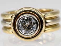 Massiver Ring mit Altschliff-Diamant ca. 1 ct, Juweliersarbeit, 90- er Jahre. 750/- Gelb- und W