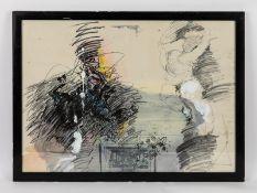 """Lifshitz, Uri (1936 - 2011). Mischtechnik auf Papier, """"Pferd 2"""" (teils abstrakte Farbkompositio"""