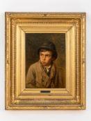 """Göbel, Angilbert (1821 - 1882). Öl auf Holz; """"Halbportrait eines Jungen mit Hut und Kragentuc"""