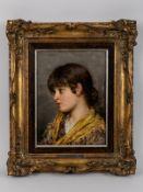 """von Blaas, Eugen (1843 - 1931). Öl auf Holz; """"Junge Venezianerin (Mädchen-Kopf im Profil)"""", 1"""