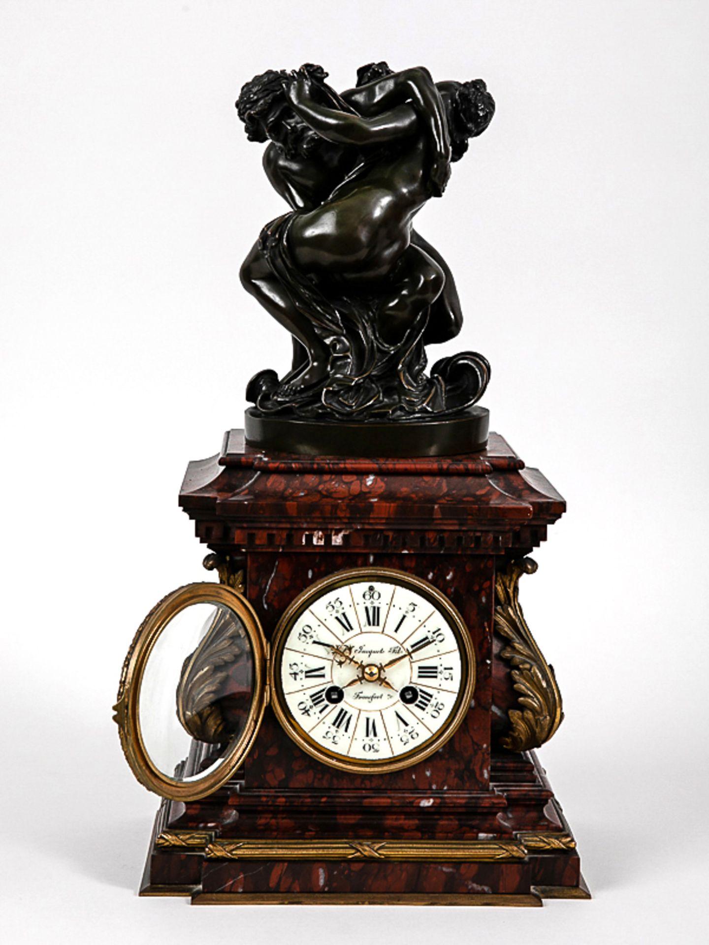 Kaminuhr mit Bronzegruppe, H. Jacquet & Fils/ Roblin, Paris, 2. Hälfte 19. Jh. Bronzeplastik i - Bild 3 aus 10
