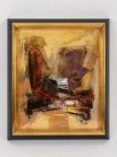 Malfer, Mario (* 1941). Öl auf Malkarton, abstrakte Farbkomposition auf gelb-ockerfarbigem Gru