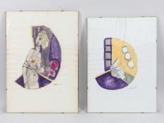 """Podenzana, Geraldo (1940 - 2010). 2 Farb-Aquarelle über Federzeichnung, """"Abstrahierte Figurenm"""