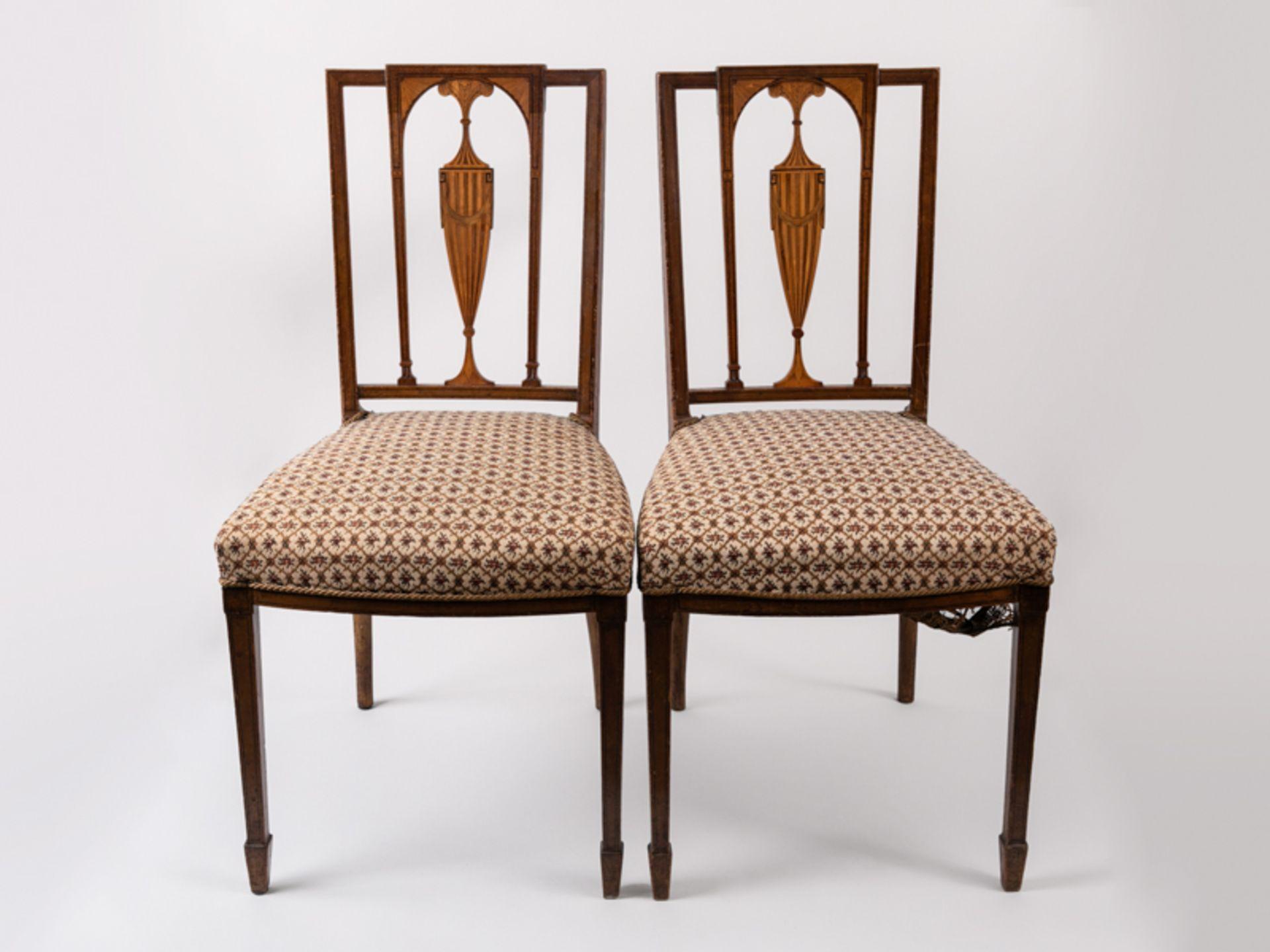 Paar Sheraton-Stühle, England, 18./19. Jh. Buche und verschiedene Einlegehölzer mit ebonisier