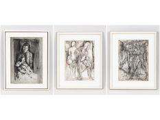 """Carro, Guglielmo (1913 - 2001). 3 Aquarelle/Mischtechniken, """"Verschiedene Figurenkompositionen"""""""