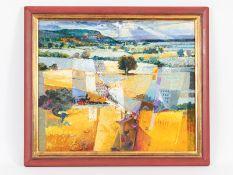 Malfer, Mario (* 1941). Öl auf Leinwand, abstrahierte Landschafts-Farbkomposition; unten recht