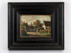 """Niederländischer Maler, um 1900. Öl auf Holz; """"Niederländische Dorfstraße mit Figurenstaffa"""