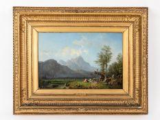 """Bürkel, Heinrich (1802 - 1869). Öl auf Leinwand (doubliert); """"Alpenpanorama mit rastendem Hir"""