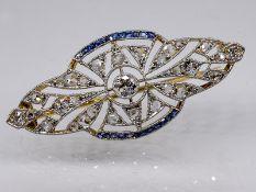 Nadel mit kleinen Saphir-Carrées und Diamanten, zus. ca. 0,6 ct, Art Deco. 585/- Weiß-und Gel
