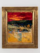 Malfer, Mario (* 1941). Öl auf Malkarton, abstrakte Landschafts-Farbkomposition unter leuchten